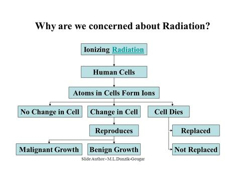 Slide Author - M.L.Dunzik-Gougar Why are we concerned about Radiation? Ionizing RadiationRadiation Human Cells Atoms in Cells Form Ions Change in CellCell.