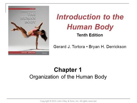 Introduction to the Human Body Tenth Edition Gerard J. Tortora Bryan H. Derrickson Chapter 1 Organization of the Human Body Copyright © 2015 John Wiley.