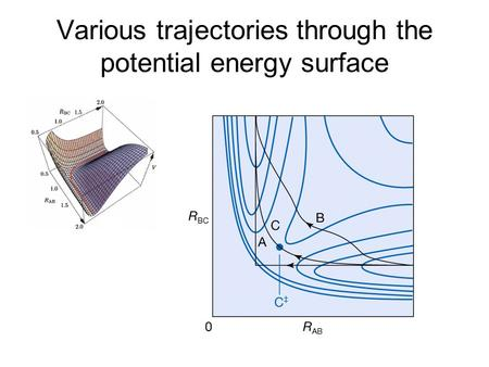 Various trajectories through the potential energy surface.