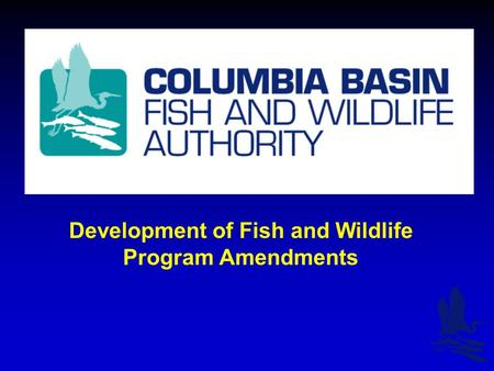Development of Fish and Wildlife Program Amendments.