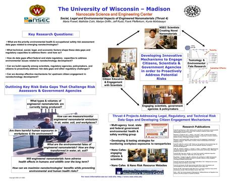 Key Research Questions: The University of Wisconsin – Madison Nanoscale Science and Engineering Center Social, Legal and Environmental Impacts of Engineered.