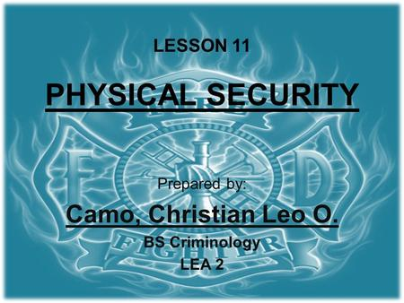 LESSON 11 PHYSICAL SECURITY Prepared by: Camo, Christian Leo O. BS Criminology LEA 2.