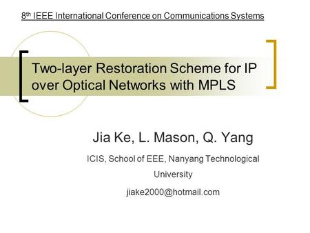 Two-layer Restoration Scheme for IP over Optical Networks with MPLS Jia Ke, L. Mason, Q. Yang ICIS, School of EEE, Nanyang Technological University
