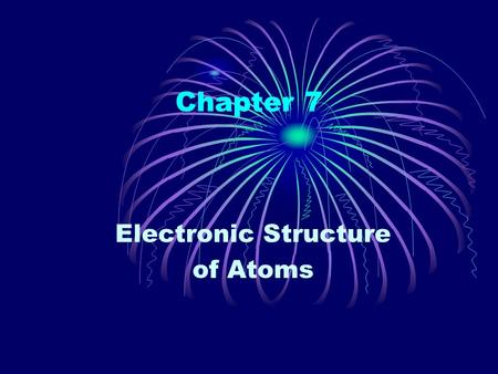 Chapter 7 Electronic Structure of Atoms. The Wave Nature of Light The electronic structure of an atom refers to the arrangement of the electrons. Visible.