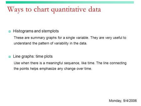 Ways to chart quantitative data  Histograms and stemplots These are summary graphs for a single variable. They are very useful to understand the pattern.