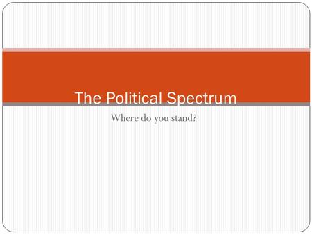 Where do you stand? The Political Spectrum. What Is a Party? A political party is a group of persons who seek to control government by winning elections.