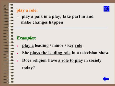 Play a role: — — play a part in a play; take part in and make changes happen Examples: play a leading / minor / key role She plays the leading role in.