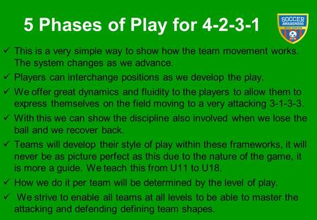 5 Phases of Play for 4-2-3-1 This is a very simple way to show how the team movement works. The system changes as we advance. Players can interchange.