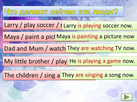 Larry / play soccer / now. Larry is playing soccer now. Maya / paint a picture / now. Maya is painting a picture now Dad and Mum / watch TV / now. They.