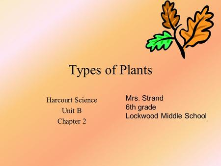 Types of Plants Harcourt Science Unit B Chapter 2 Mrs. Strand 6th grade Lockwood Middle School.