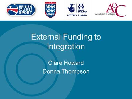 External Funding to Integration Clare Howard Donna Thompson.