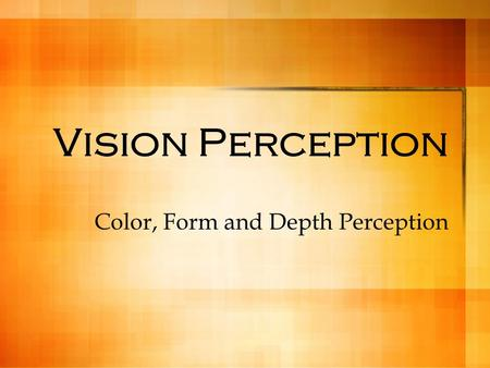 Vision Perception Color, Form and Depth Perception.