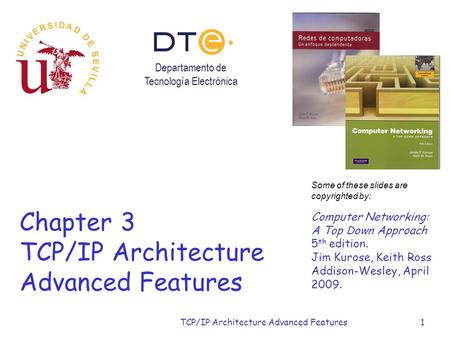 TCP/IP Architecture Advanced Features1 Chapter 3 TCP/IP Architecture Advanced Features Some of these slides are copyrighted by: Computer Networking: A.