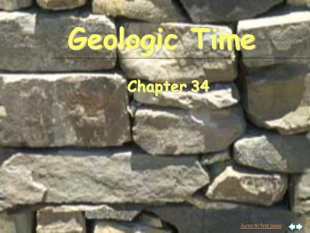 Jump to first page Geologic Time Chapter 34. Jump to first page Dating rocks n Relative dating F Compare events and put them in order based on their sequence.