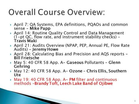  April 7: QA Systems, EPA definitions, PQAOs and common sense – Mike Papp  April 14: Routine Quality Control and Data Management (1-pt QC, flow rate,