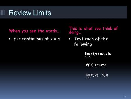 Review Limits When you see the words… This is what you think of doing…  f is continuous at x = a  Test each of the following 1.