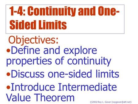 1-4: Continuity and One-Sided Limits