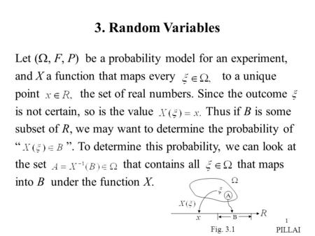 1 3. Random Variables Let ( , F, P) be a probability model for an experiment, and X a function that maps every to a unique point the set of real numbers.