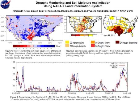 Drought Monitoring and Soil Moisture Assimilation Using NASA's Land Information System Christa D. Peters-Lidard, Sujay V. Kumar/SAIC, David M. Mocko/SAIC,