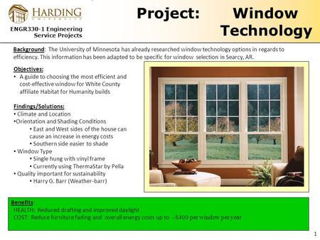 ENGR330-1 Engineering Service Projects Project: Window Technology Benefits: HEALTH: Reduced drafting and improved daylight COST: Reduce furniture fading.