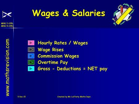 MNU 3-09b MNU 4-09b 5-Dec-15Created by Mr. Lafferty Maths Dept. Wages & Salaries Hourly Rates / Wages www.mathsrevision.com Wage Rises Commission Wages.