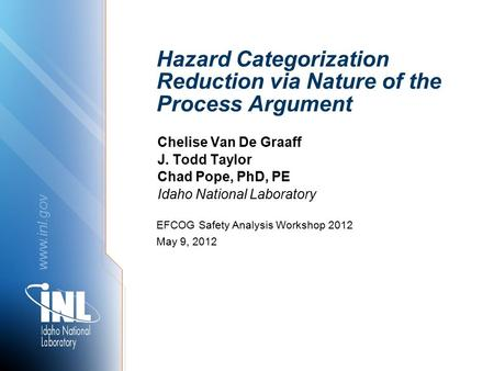Www.inl.gov Hazard Categorization Reduction via Nature of the Process Argument Chelise Van De Graaff J. Todd Taylor Chad Pope, PhD, PE Idaho National Laboratory.