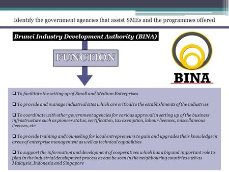 Identify the government agencies that assist SMEs and the programmes offered Brunei Industry Development Authority (BINA)  To facilitate the setting up.