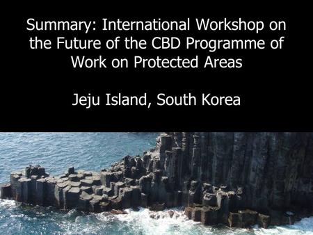 International Workshop on the future of the CBD PoWPA, Jeju, 2009 Summary: International Workshop on the Future of the CBD Programme of Work on Protected.