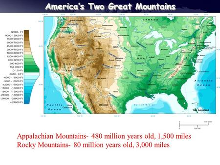 America's Two Great Mountains Appalachian Mountains- 480 million years old, 1,500 miles Rocky Mountains- 80 million years old, 3,000 miles.