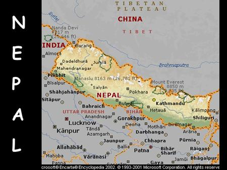 NEPALNEPAL. Geography Land: 56, 827 sq. miles In the Himalayas Water: Landlocked Wildlife: Elephants, Rhinos, snow leopards, Bengal Fox, red Panda.