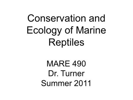 Conservation and Ecology of Marine Reptiles MARE 490 Dr. Turner Summer 2011.