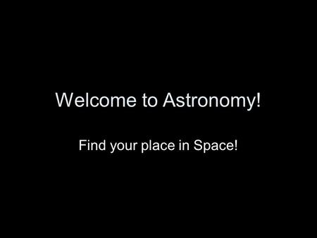 Welcome to Astronomy! Find your place in Space!. Astronomy The study of the Moon, Stars, and other objects in space.