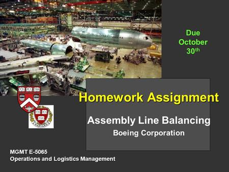 Assembly Line Balancing Boeing Corporation