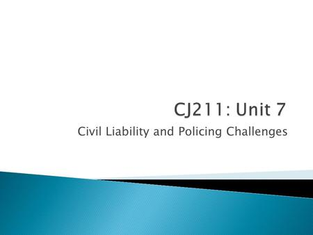Civil Liability and Policing Challenges.  Any questions about anything before we begin?  Unit 7: Seminar, Discussion, Quiz, and Unit 7 Project Chapters.