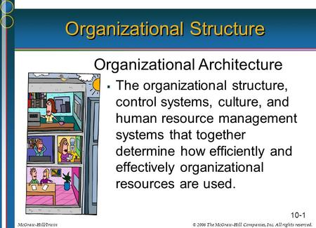 10-1 © 2006 The McGraw-Hill Companies, Inc. All rights reserved.McGraw-Hill/Irwin Organizational Structure Organizational Architecture  The organizational.