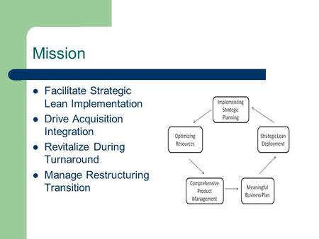 Mission Facilitate Strategic Lean Implementation Drive Acquisition Integration Revitalize During Turnaround Manage Restructuring Transition.
