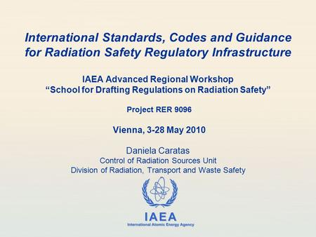 IAEA International Atomic Energy Agency International Standards, Codes and Guidance for Radiation Safety Regulatory Infrastructure IAEA Advanced Regional.