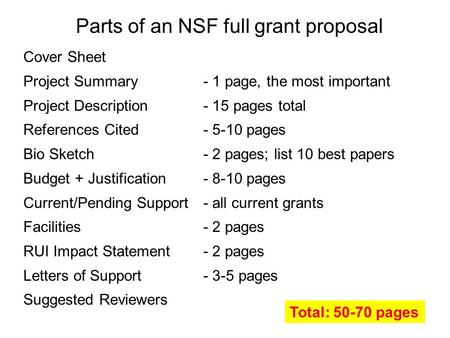 Parts of an NSF full grant proposal Cover Sheet Project Summary- 1 page, the most important Project Description- 15 pages total References Cited- 5-10.