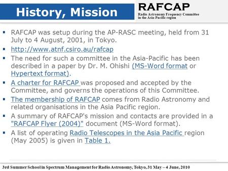 3rd Summer School in Spectrum Management for Radio Astronomy, Tokyo, 31 May – 4 June, 2010 History, Mission  RAFCAP was setup during the AP-RASC meeting,