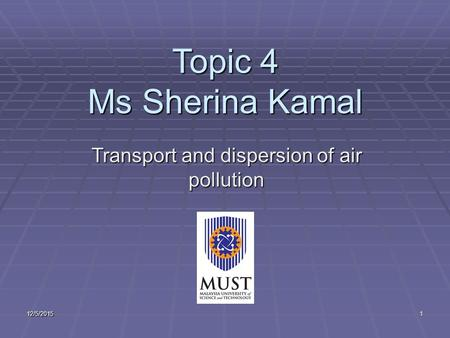 Transport and dispersion of air pollution