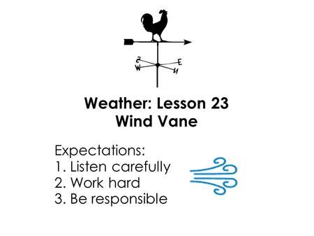 Weather: Lesson 23 Wind Vane Expectations: 1. Listen carefully 2. Work hard 3. Be responsible.