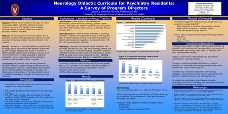 Neurology Didactic Curricula for Psychiatry Residents: A Survey of Program Directors Claudia L. Reardon, MD and Art Walaszek, MD University of Wisconsin.