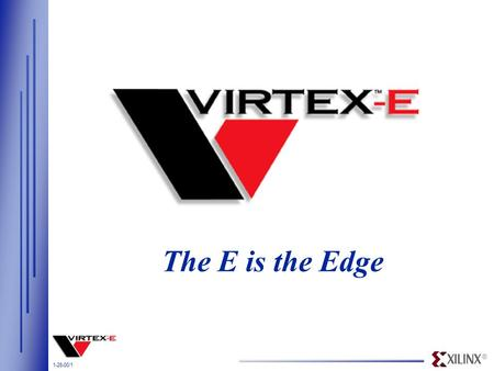 ® 1-28-00/1 The E is the Edge. ® 1-28-00/2 Density Leadership 1998 1999 2000 2001 2002 Virtex XCV1000 Density (system gates) 10M Gates In 2002 Virtex-E.