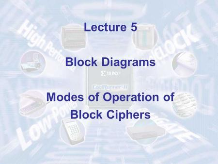 Lecture 5 Block Diagrams Modes of Operation of Block Ciphers.