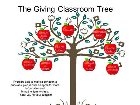 The Giving Classroom Tree If you are able to make a donation to our class, please click an apple for more information and bring the item to class. Thank.