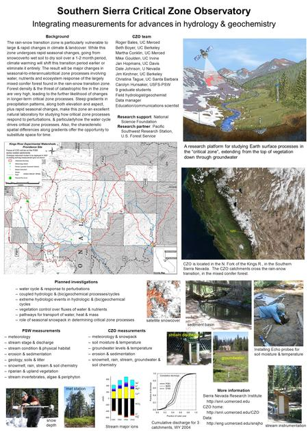 Southern Sierra Critical Zone Observatory Integrating measurements for advances in hydrology & geochemistry A research platform for studying Earth surface.