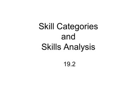 Skill Categories and Skills Analysis 19.2. Basic Skill Categories Locomotor-moving skills Manipulative-handling skills Stability-balancing skills In 1970's.