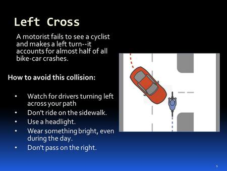 Left Cross A motorist fails to see a cyclist and makes a left turn--it accounts for almost half of all bike-car crashes. How to avoid this collision: Watch.