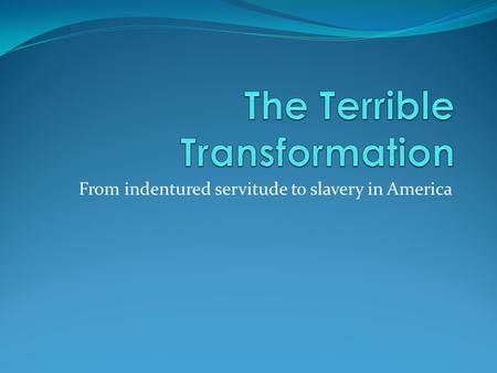 From indentured servitude to slavery in America. Focus Question Why was labor so important in colonial society?