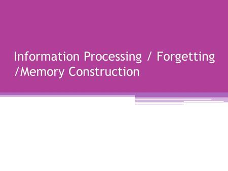 Information Processing / Forgetting /Memory Construction